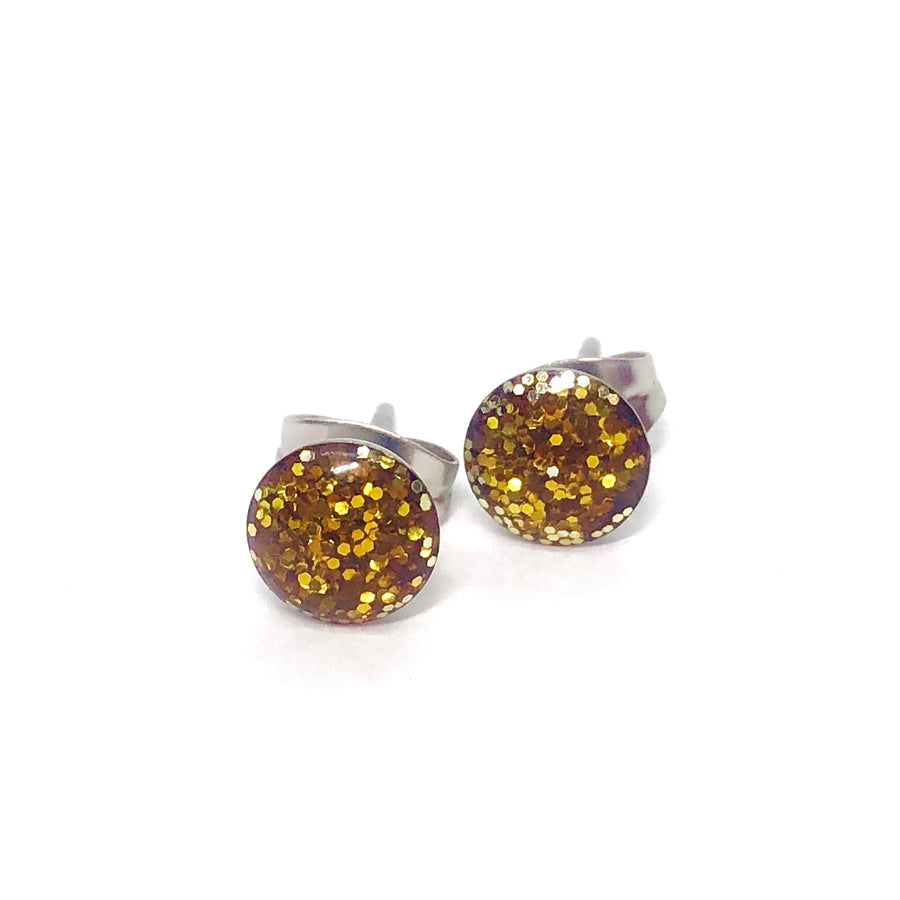 Glittery Gold Stainless Steel Studs