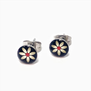 White Daisy Flower Stainless Steel Studs