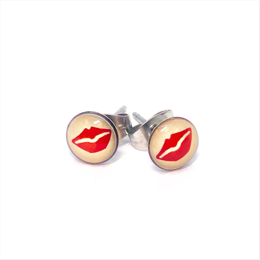 Red Lips Stainless Steel Studs