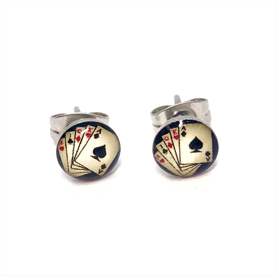 Poker Playing Cards Stainless Steel Studs