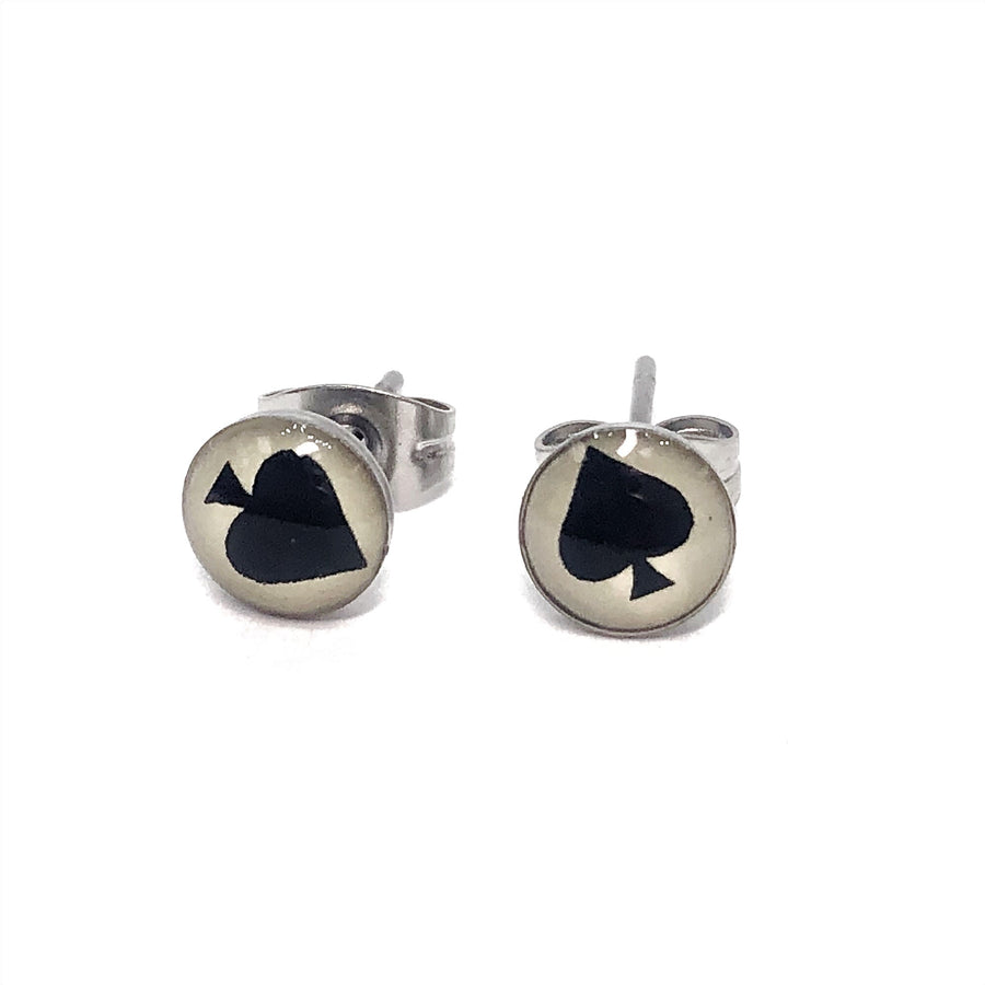 Black Ace Symbol Stainless Steel Studs