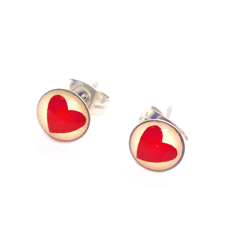 Red Heart Stainless Steel Studs