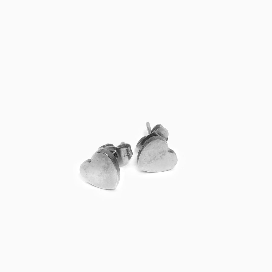 Smooth Heart Stainless Steel Studs