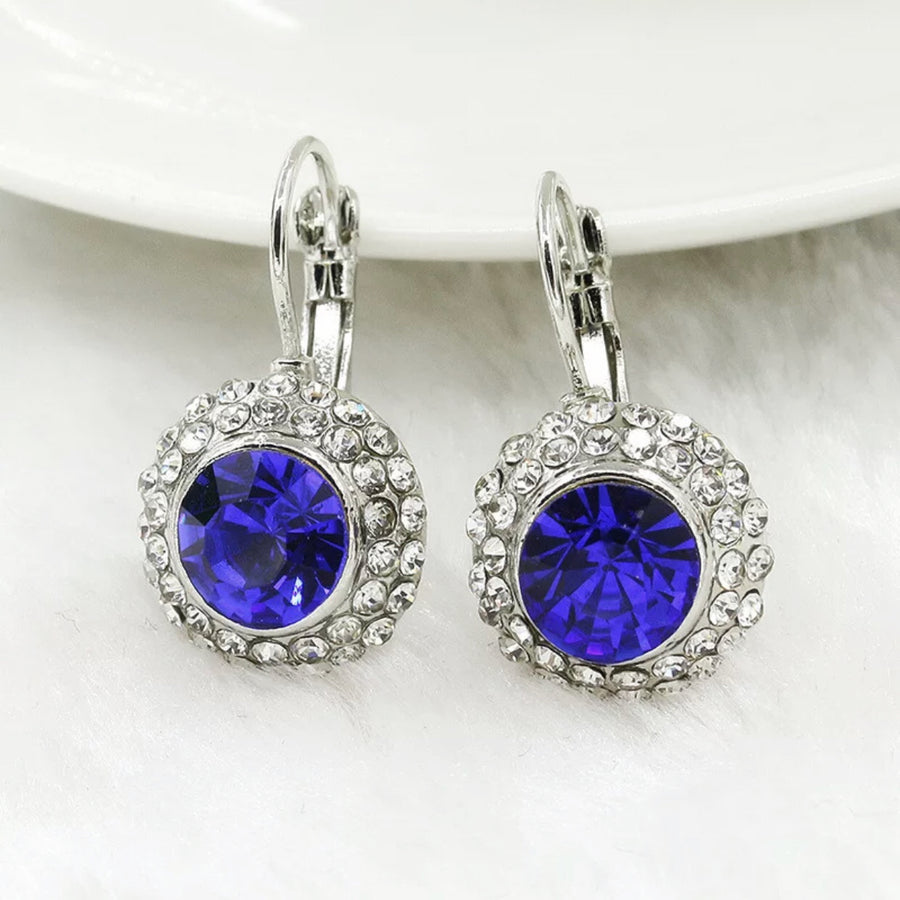 14K White Gold Sapphire Blue On White Gold Bezel Set IOBI Crystals Earrings For Woman