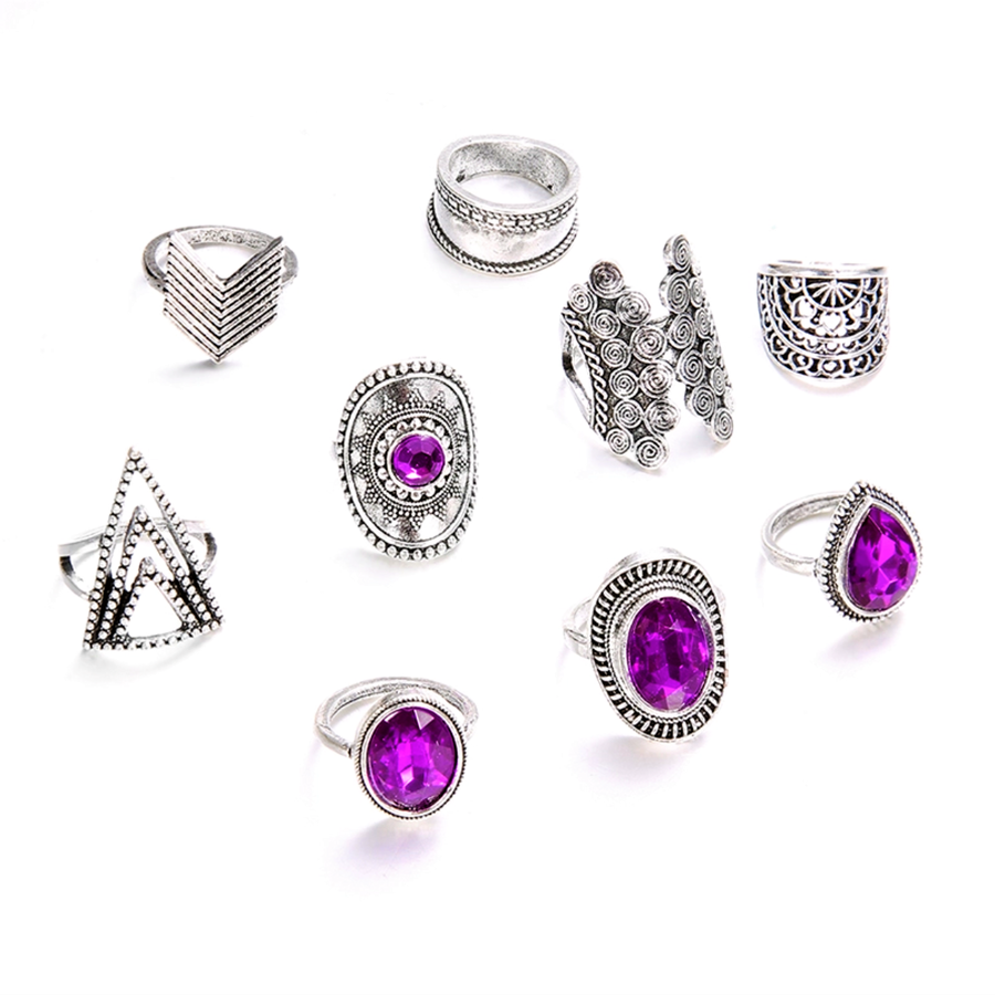 Dark Purple Stone Boho Midi-Knuckle Rings Set of 9