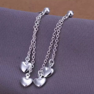 Double Hearts Drop Chains Stud Earring