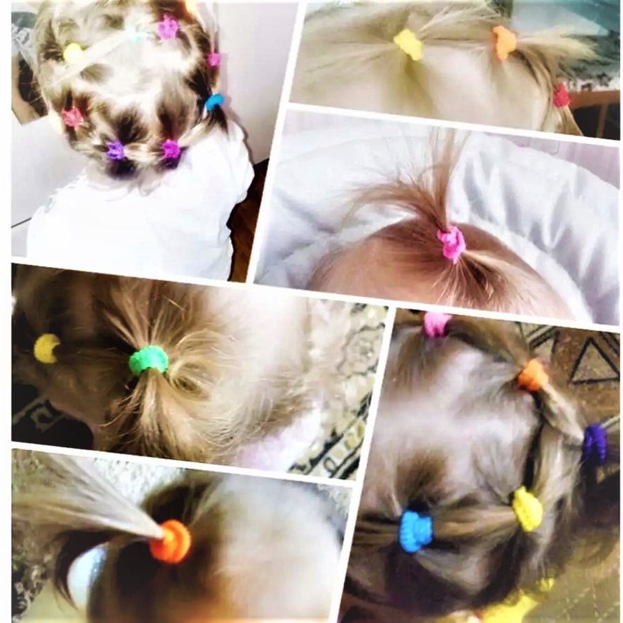 Hair Bands Elastics Ties for Baby Girls Colorful Set Tiny Soft Rubber Bands for Kids Women, Durable Hair accessories