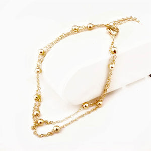 Double Layer Chain Beaded Anklet