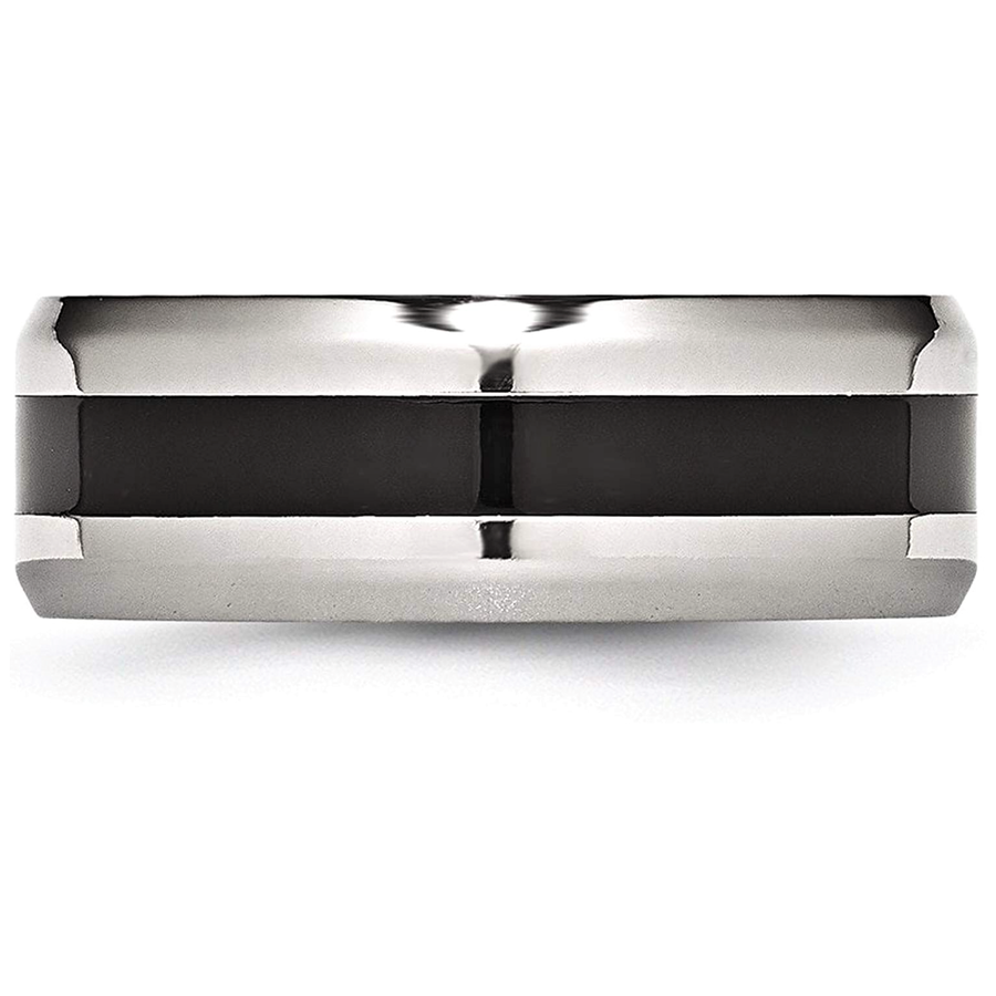 Beveled Edges Black Stripe Stainless Steel Ring