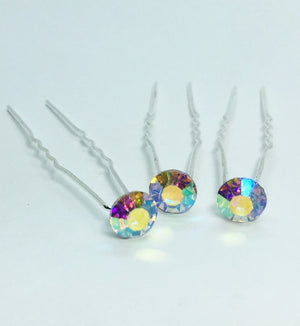 Colorful Crystal Rhinestone Silver Plated Hair Pins