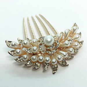 Blossoming Pearl Flower and Crystal Gold Plated Hair Comb
