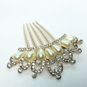 Princess Pearl and Crystal Crown Gold Plated Hair Comb