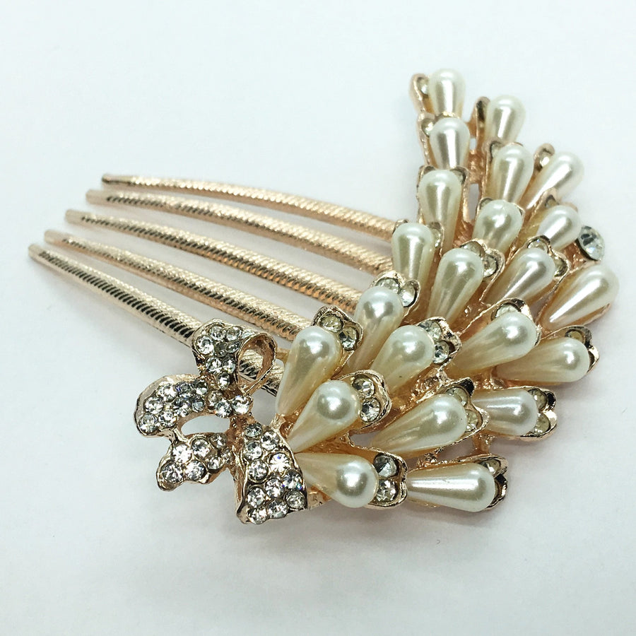 Feshionn IOBI Hair Jewelry Gold Cascade Pearl and Crystal Bow Gold Plated Hair Comb
