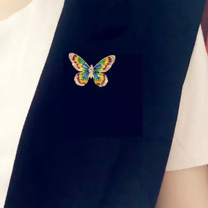 Multi Color Butterfly CZ Crystal Brooch Pin