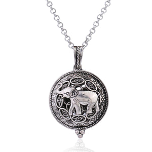 Silver Filigree Elephant Aromatherapy Scent Difusser Locket Necklace