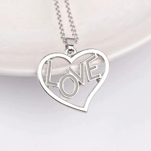 Silver Glow In The Dark Love Heart Necklace Pendant