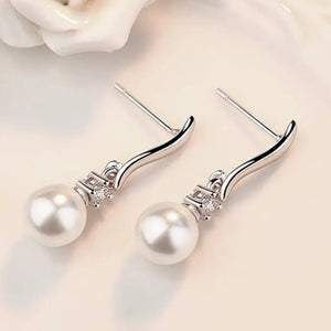 CZ Accented White Pearl Drop Earring