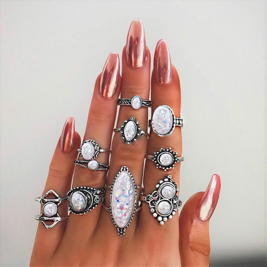 Iridescent Trendy Boho Midi-Knuckle Rings Set of 10 for Woman