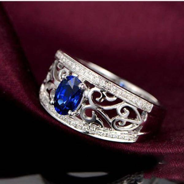Ines En Bleu 1.25CT Filigree Band IOBI Simulated Diamond Ring