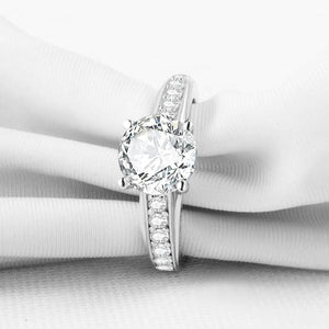Daphne 2CT Solitaire Surprise Detail Cathedral IOBI Simulated Diamond Ring For Woman