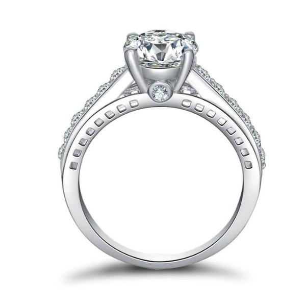 ON SALE - Daphne 2CT Solitaire Surprise Detail Cathedral IOBI Simulated Diamond Ring
