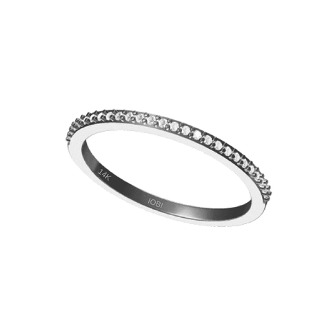 Lillianne 14K White Gold .22CT Pavé Band IOBI Cultured Diamond Ring