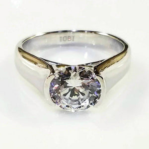 Veronique 2CT Round Semi-Bezel Set IOBI Simulated Diamond Solitaire Ring