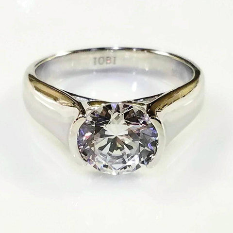 Veronique 2CT Round Semi-Bezel Set IOBI Cultured Diamond Solitaire Ring