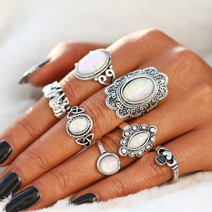 ON SALE - Indie Iridescent Opal Collection Boho Midi-Knuckle Rings Set of 7
