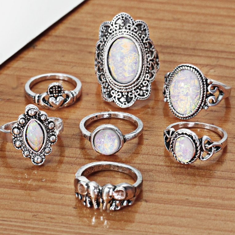 Indie Iridescent Opal Collection Boho Midi-Knuckle Rings Set of 7