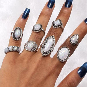 All Mined Opal Collection Boho Midi-Knuckle Rings Set of 8