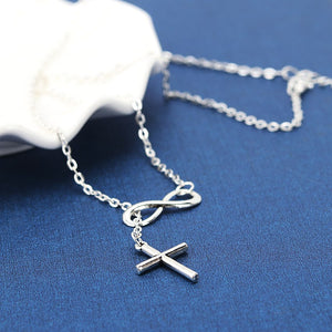Infinite Faith Symbol and Cross Necklace