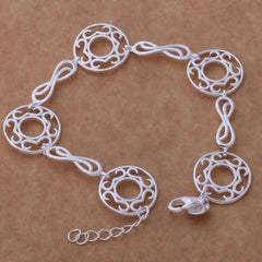 Infinite Medallion Silver Bracelet & Earrings Set