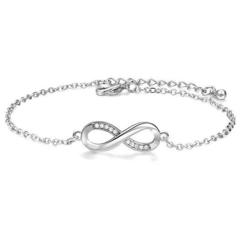 On Sale Cz Accented Infinity Symbol Bracelet In Silver Or Rose