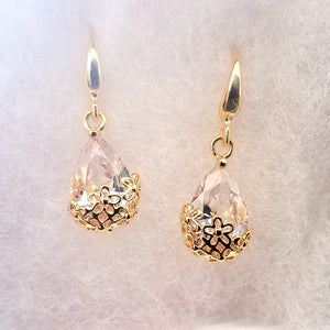 18K Gold Plated Infused Diamond Dust Dangling Earrings For Woman