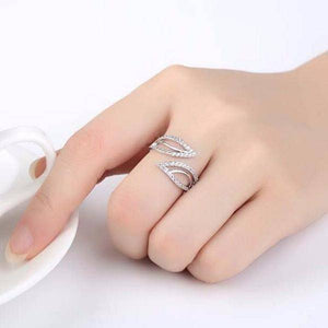 ON SALE - Ivy Leaves CZ Adjustable Ring
