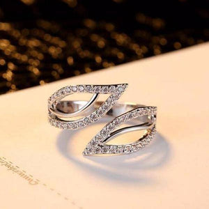 Ivy Leaves CZ Adjustable Ring