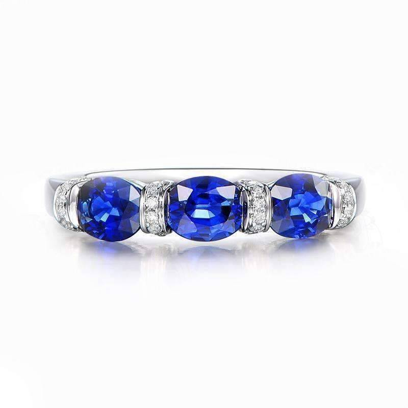 Josette En Bleu 1.5CTW Oval Three Stone Band IOBI Simulated Diamond Ring