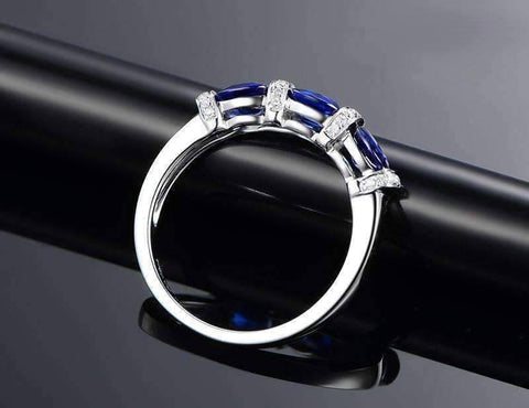 Josette En Bleu 1.5CTW Oval Three Stone Band IOBI Cultured Diamond Ring