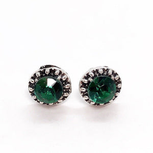 Marcasite Emerald Green Halo Stud Earrings
