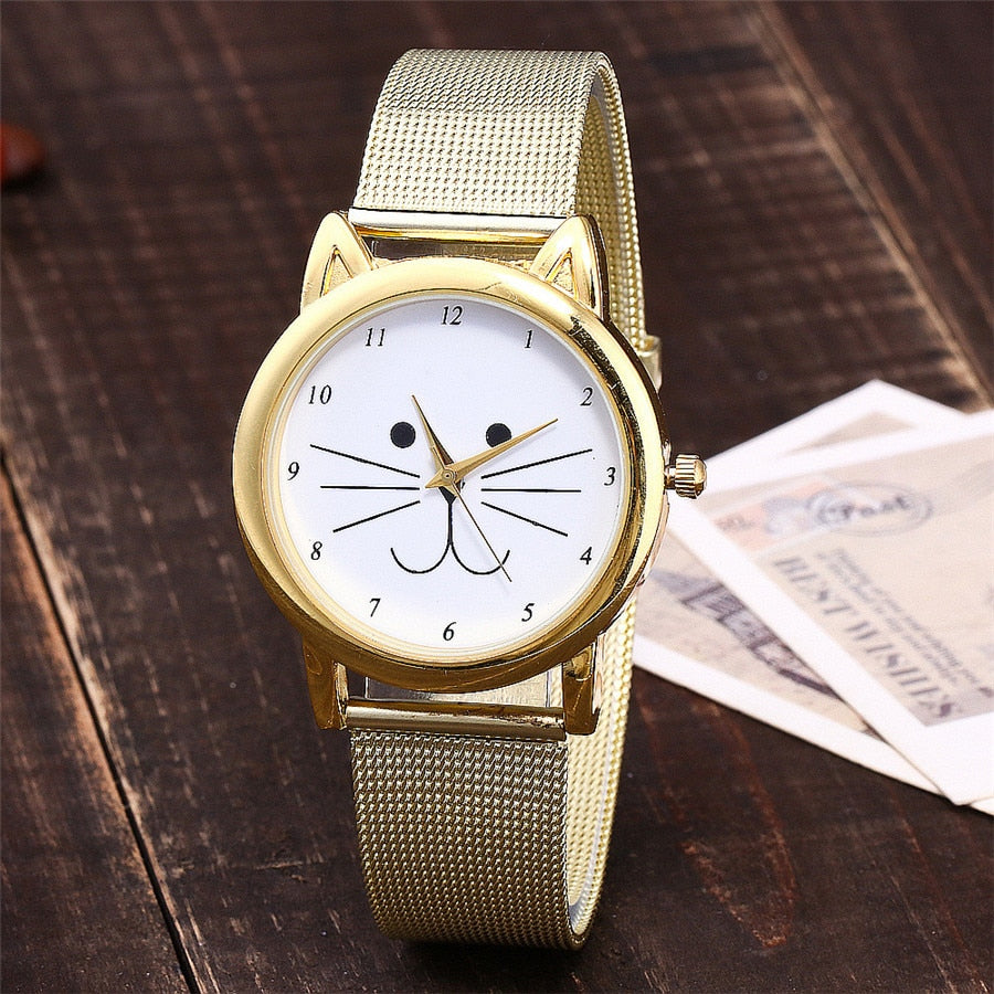 Cats All The Time Gold Mesh Watch