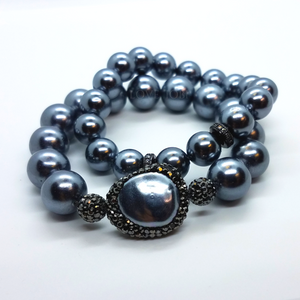 Black Shell Pearl and Hematite Stretch Bracelet Set