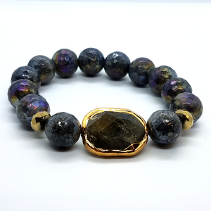 ON SALE - Natural Labradorite Briolette Stretch Bead Bracelet