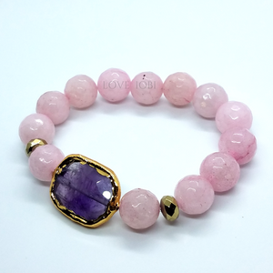 ON SALE - Natural Rose Quartz Briolette Stretch Bead Bracelet