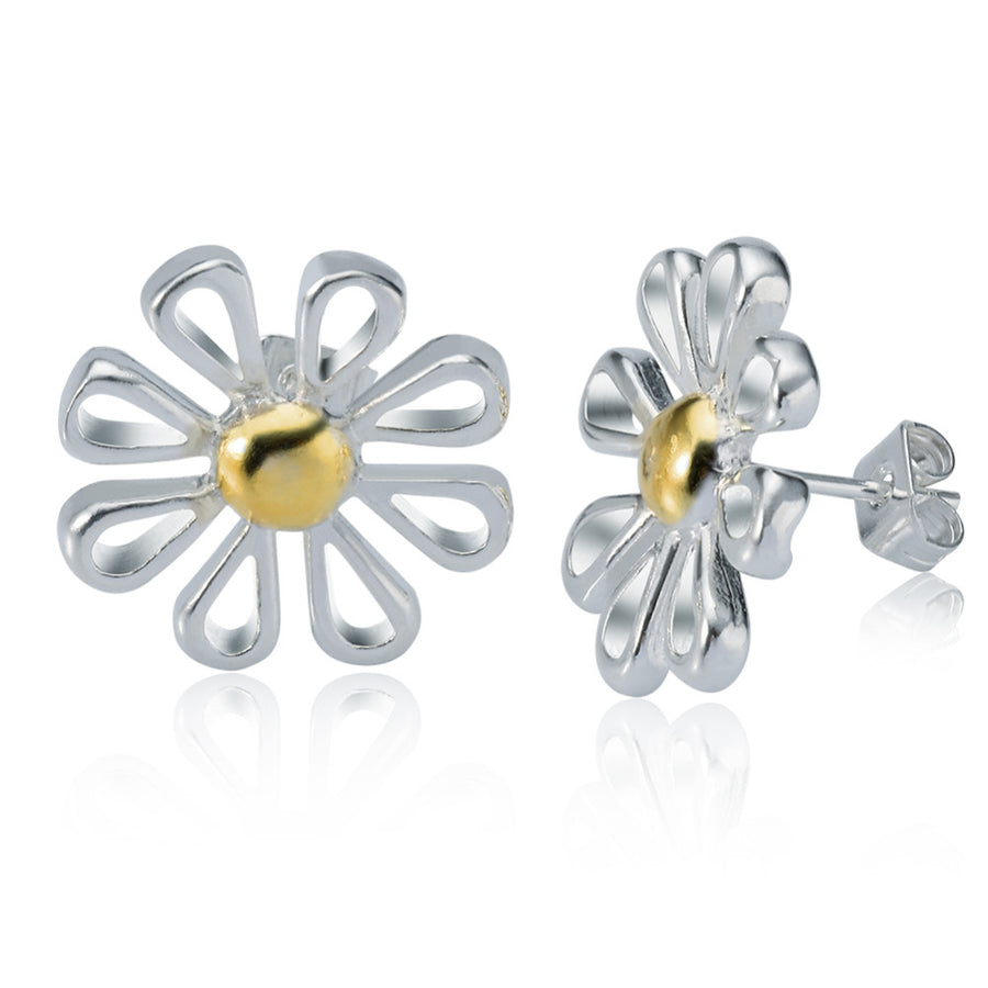 Flower-Power Daisy Two-Tone Silver Necklace and Earrings Set