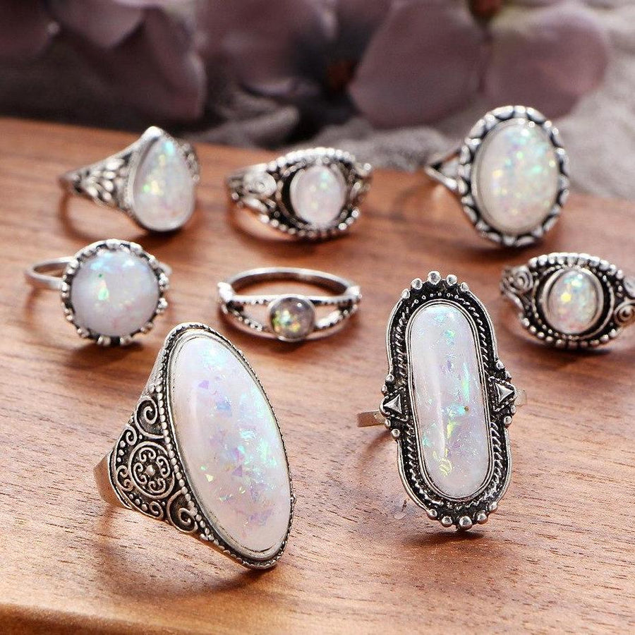 Vintage Opals Boho Midi-Knuckle Rings Set of 8