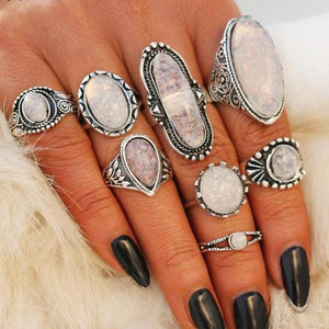 ON SALE - Vintage Opals Boho Midi-Knuckle Rings Set of 8
