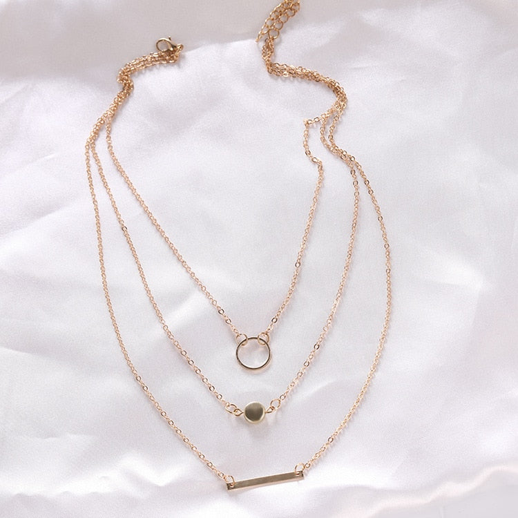 14K Gold Plated Circle Bead Bar Layered Chain Necklace For Woman