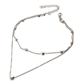 ON SALE - Beaded Heart Double Layer Choker Necklace