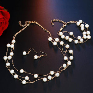 Layered Pearl Bead Station Necklace, Bracelet and Earrings Set